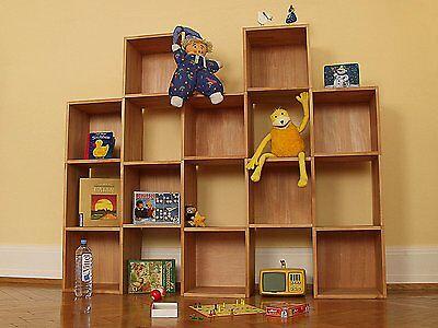 Massivholz Raumteiler (Kinderzimmerregal (10+2), massiv Holz Buche geölt aus Regalwürfeln, Raumteiler)
