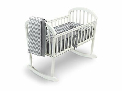 Baby Doll Bedding Chevron 4 Piece Round Crib Bedding Set, Grey