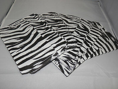 100 Size 5x7 Zebra Bags Merchandise Flat Paper Bags Black And White Striped Bag
