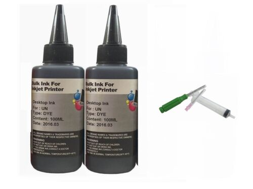 200ml Black Refill Ink for Epson HP Canon Dell Lexmark Kodak Printer cartridges