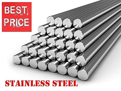 Stainless Steel Round Bar Steel Rod - Grade 304 - Various Size - 1 Meter Long