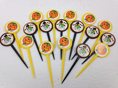 Vintage Halloween Cake Decorations Picks Amscan Pumpkins Witches Set of 18 - Halloween Decorations Cakes