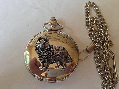 D10 Sheltie  polished silver case mens GIFT quartz pocket watch fob