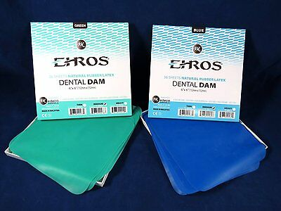 Dental Natural Rubber Dam Green Blue Set Medium 6 X 6 Kit 2 Box Ehros