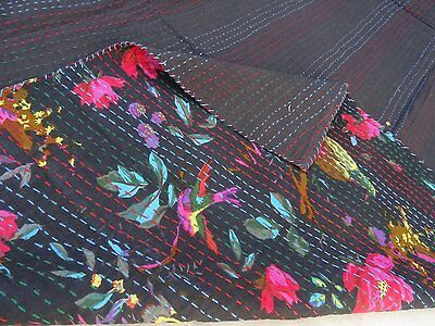 INDIAN KANTHA BIRD PRINT QUILT QUEEN BEDSPREAD BLANKET THROW VINTAGE GUDARI