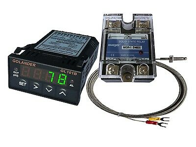 12v Dc 132din Pid Temperature Controller Green 25a Ssr K Thermocouple