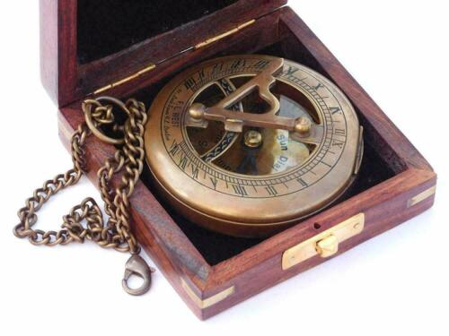 Antique Handmade Nautical Brass Sundial Compass with Chain & Wooden Case Gift