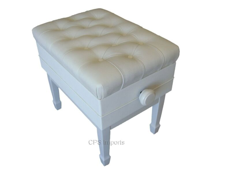 GENUINE LEATHER White Adjustable Artist Concert Piano Bench/Stool/Chair