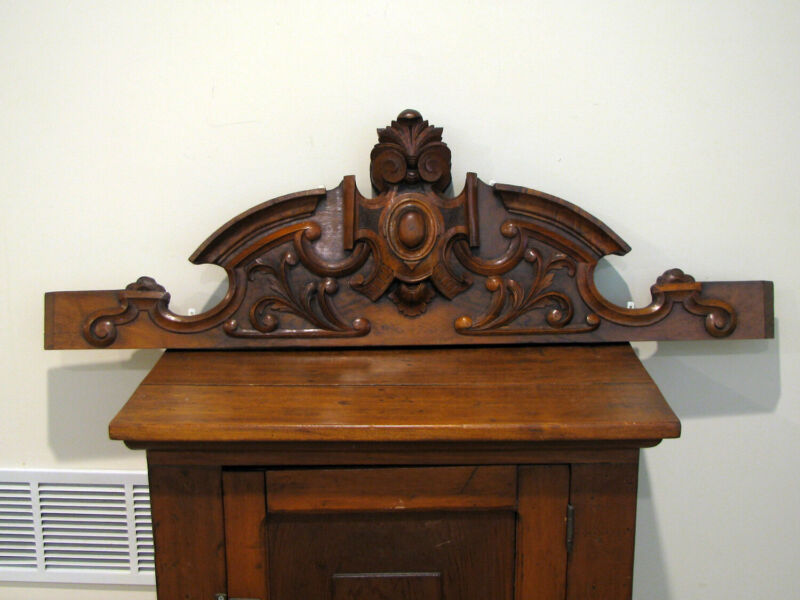 """Antique FRENCH CARVED WOOD PEDIMENT OR CREST - 41 1/2"""""""