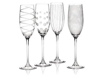 Mikasa Cheers Set of 4 Crystal Champagne Flute Glasses 250ml Wine Glass