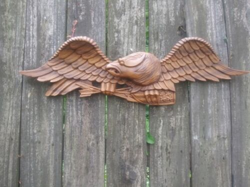 "Vintage Wood  30"" Wingspan Eagle Hanging Wall Sculpture"