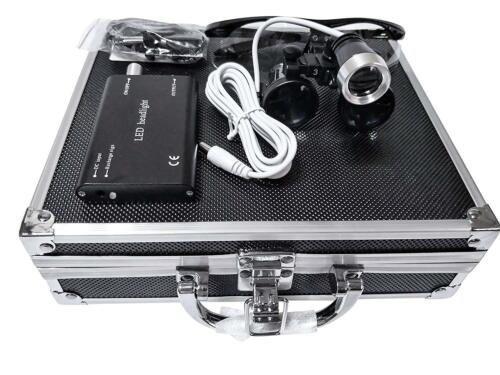 3.5X Dental Surgical Binocular Loupes + LED Headlight + Aluminum Box US STOCK