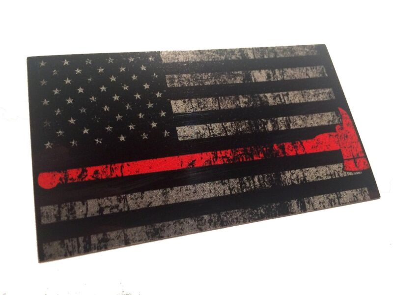"""The Tattered and Burned Reflective Thin Red Line with Axe 3.75x2.6"""" Sticker"""
