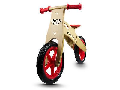 Holzlaufrad für Kinder Laufrad Holz und Rot EVA Reifen 29 cm Ricobike RC-201