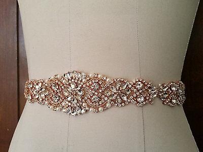 """Wedding Belt, Bridal Sash Belt-ROSE GOLD Crystal Pearl Sash Belt = 14 1/2"""" long"""