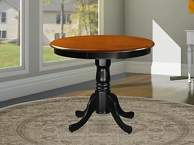 Antique Solid Wood Black And Cherry 36 Inch Pedestal Round Dining Kitchen Table