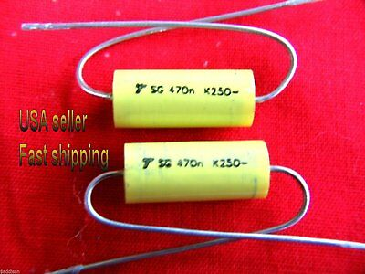 4 pc   -  .47uf  250v  (0.47uf, 470nf)  NP  axial film capacitors FREE SHIPPING