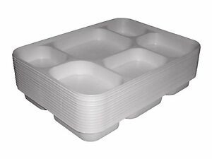 50 x Disposable Plastic Plates 6 Compartment Party Food Section Tray Thali Curry