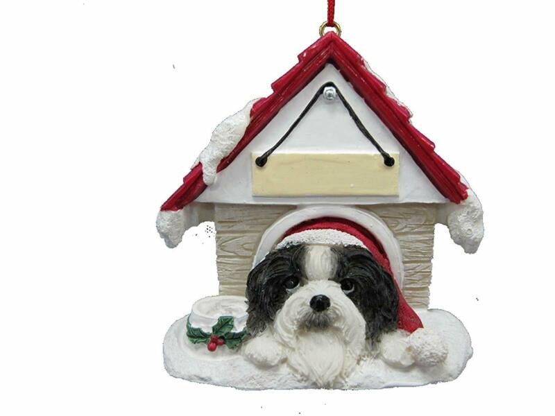 Shih Tzu Black & White Doghouse Ornament Hand Painted Easily Personalized