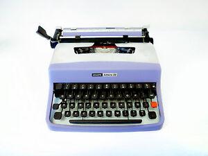 SALE-VIOLET-SILVER-OLIVETTI-LETTERA-32-Vintage-Working-Typewriter