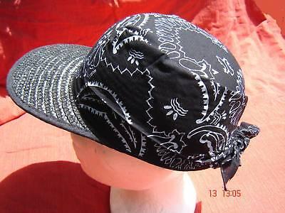 Strohhut Sommercap Basecap schwarz mit Bandana Strohcap Bortenstroh  ()