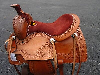USED 15 16 ROPING ROPER COWBOY WADE PLEASURE TOOLED LEATHER WESTERN HORSE SADDLE