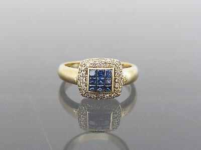 Vintage 18K Solid Yellow Gold Natural Ceylon Blue Sapphire & Diamond Ring Size 8