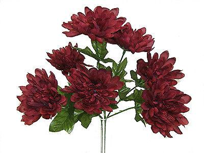 5 Mums ~ Burgundy Wine ~ Silk Wedding Flowers Bridal Bouquets Centerpieces Decor