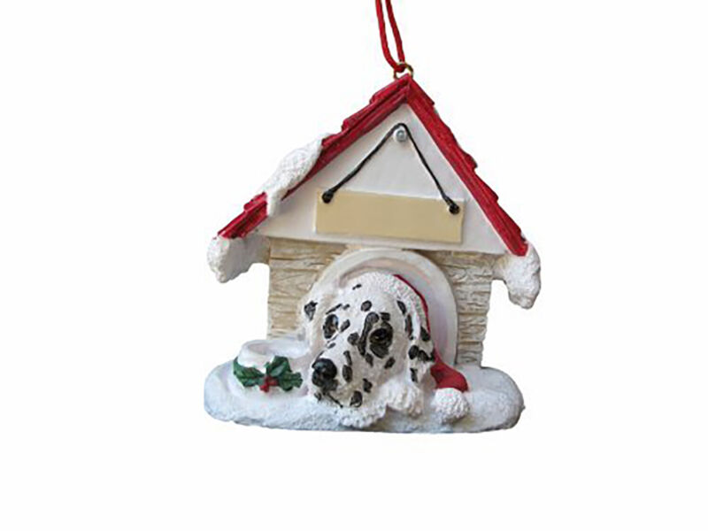Dalmatian Doghouse Ornament Hand Painted and Easily Personalized