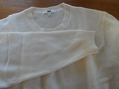 New NBW Uniqlo Japan Pure Wool Off White Knit Jumper Size XL