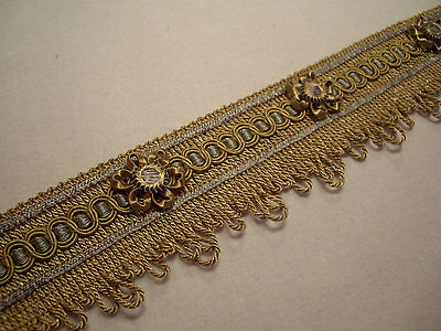 FRENCH BLUE & ANTIQUE GOLD FRENCH PASSEMENTERIE LOOP FRINGE BRAID W/ ROSETTES!!