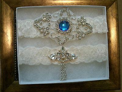 Wedding garter, Bridal Garter Set - Crystal Something Blue Wedding Garter Set