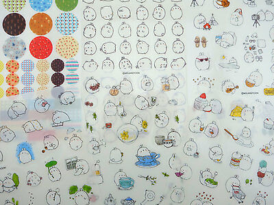 Chubby Bunny Tea - SIX pages Korean Molang bunny rabbit stickers! Kawaii chubby mochi bunnies, tea