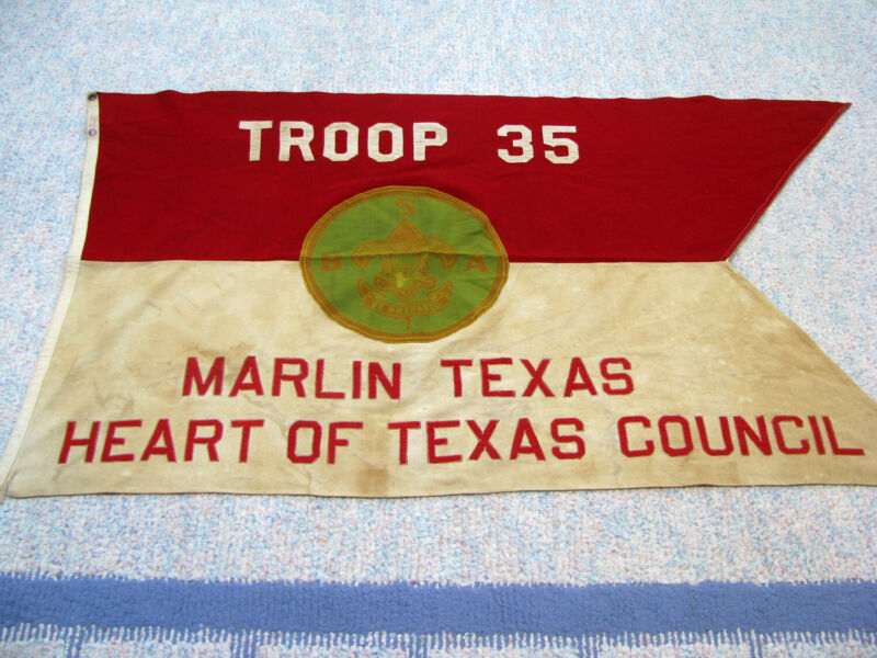 1920s-30s BOY SCOUT FLAG - MARLIN TEXAS - TROOP 35