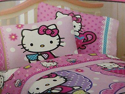 "Hello Kitty ""High Tea""  3pc Twin Sheet Set"
