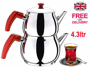 Traditional Turkish Tea Maker Pot Stainless Steel Caydanlik Large Free UK Post