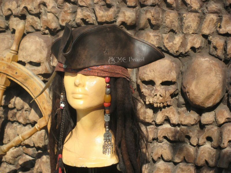 Best Jack Sparrow TRICORN pirate hat Leather Tricorner Costume caribbean prop