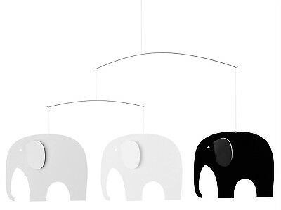 Flensted Elephant Party Black & White Modern Hanging Mobile Kinetic Art - Elephant Party Mobile