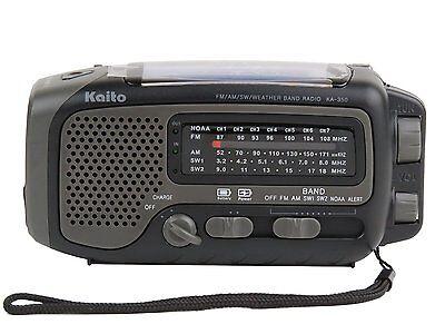 New Kaito Ka350 Solar Crank Am Fm Shortwave Weather Radio Gray