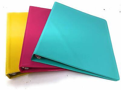 Fashion Color 3 Ring Binder 1 Inch Round Rings 3 Pack Yellow Pink Teal