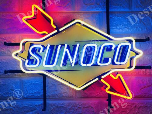 "Sunoco Gas Gasoline Motor Oil Light Lamp Neon Sign 20"" With HD Vivid Printing"