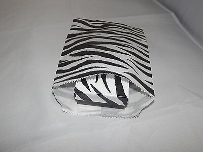 50 5x7 Zebra Bags Merchandise Flat Paper Bags Black And White Striped Party Bag