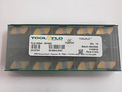 10pc Toolflo Flg 3094l Gp50 Top Notch Coated Carbide Grooving Inserts Ng 3094l