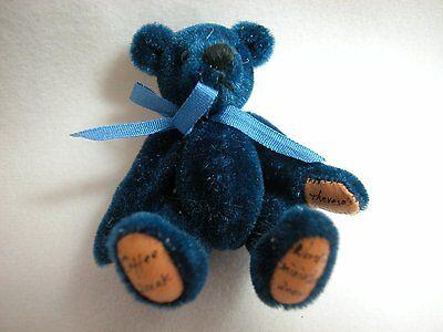 "World of Miniature Bears 2.5"" Plush Bear Blue #353 Collectible Miniature Bear"