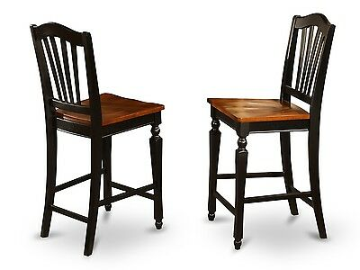 SET OF 2 CHELSEA KITCHEN COUNTER HEIGHT CHAIRS w/ PLAIN WOOD SEAT BLACK & CHERRY Black Cherry Bar Stools