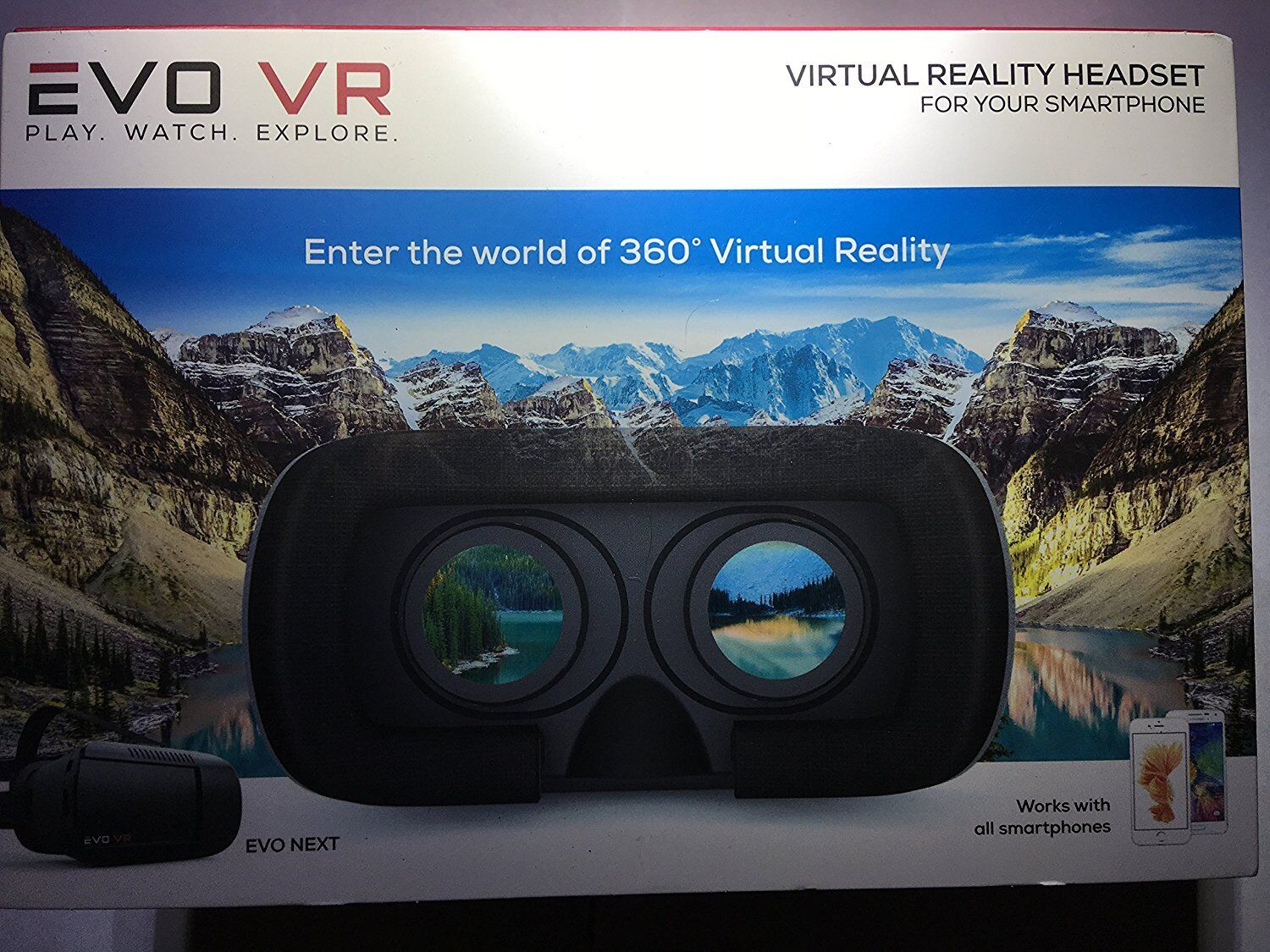 EVO VR / Virtual Reality Headset for All Smartphones - IOS & Android - Black