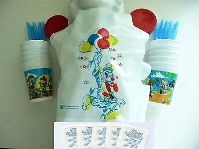 Kid's Clown Bib & Pirate Cup with Towelettes  - Party / Birthday Set ~ 10 Pack - Plastic Pirate Cups
