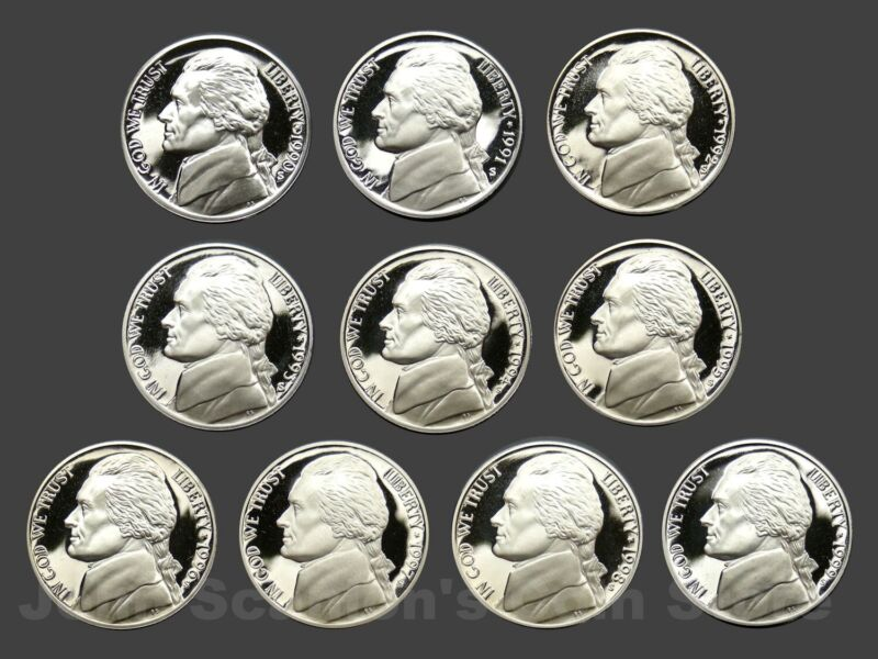 Decade Set of Proof Jefferson Nickels 1990-1999 (10 Coin Lot)