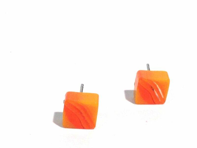 Orange Citrus Stripe Square Vintage Lucite Stud Earrings
