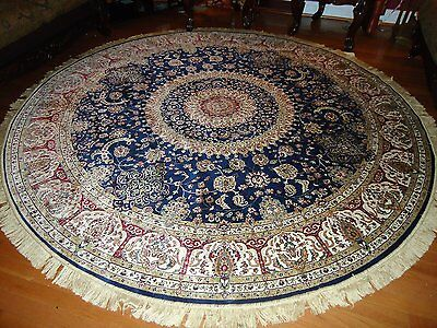 Persian Silk Rugs 8u0026#39; Round Rugs Navy Silk Rug Circle Floor Carpet Tabriz